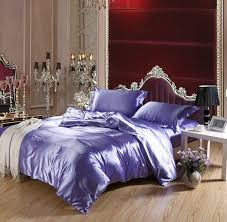 soft bed sheets shiny lilac violet soft and smooth imitated silk 4pcs full queen