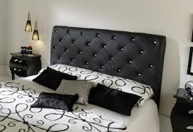Leather Bed Headboards Bedroom Stunning Studio Modern Black Leather Bed With Jeweled