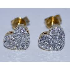 diamond back earrings diamond stud earrings 25ct 10k yellow gold heart shape 8mm back