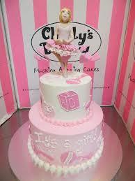 ballerina baby shower cake 2 tier baby shower cake with a 3d fondant ballerina figuri flickr