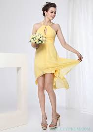 chiffon halter yellow short prom dresses with criss cross back