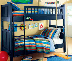 beautiful kid bedroom plus blue red tent oak wood boy bunk bed w
