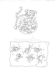 Brat Cat Scares The Goldfish Chine Coloring For Kids Stock Coloring Scares