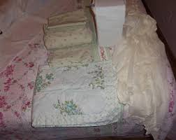Shabby Chic Voile Curtains Vintage Bed Skirt Etsy