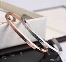 titanium bracelet cuff images Rose gold dw cuff bangle bracelet engraved logo lettering titanium jpg