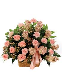 Peach Roses Classic Sympathy Basket Arrangement At From You Flowers