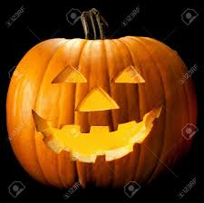 halloween pumpkin head scary face with evil eye jack stock photo