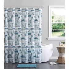 Bathroom Sets With Shower Curtain And Rugs And Accessories Vcny Home Blue Nautical Cabana 14 Piece Bath Set Shower Curtain