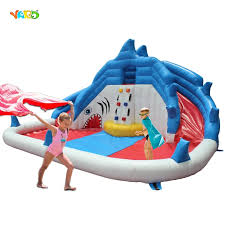 844 55 watch now yard inflatable water slide shark water park