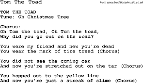 summer camp song tom the toad with lyrics and chords for ukulele