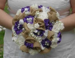 burlap bouquet brooch bouquet broche fabric flower bridal
