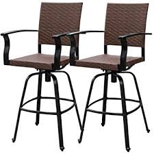 patio furniture bar stools and table amazon com sundale outdoor 2 pcs brown wicker bar height swivel
