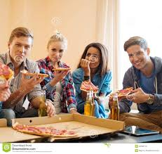 friends with pizza and bottles of drink stock photo image 40392077