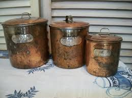 kitchen canisters set vintage copper canister set rustic copper canisters set of 3