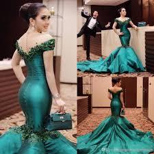 emerald green elegant prom evening wears 2017 trumpet train off