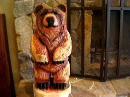 cedar wood sculpture dually small brown chainsaw carving in cedar wood wood