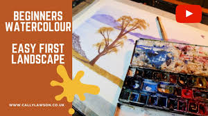 beginners watercolour easy landscape tutorial youtube