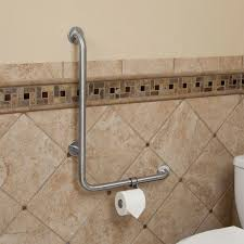 L Shaped Shower Rail Pickens L Shape Grab Bar With Toilet Paper Holder Bathroom