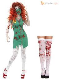 ladies zombie biohazard nurse costume stockings halloween