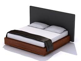 dark wood bed with a black headboard 3d cgtrader