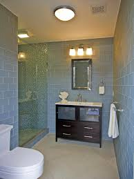 luxury blue bathroom decors with dark vanity with wall mirrored