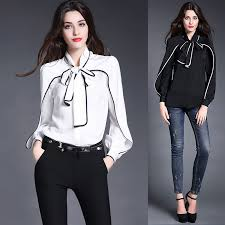 black and white blouses high quality fashion silk white black trimmed bow knot