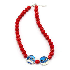 red big necklace images Fashion anime one piece portgas d ace red beads necklace cosplay jpg