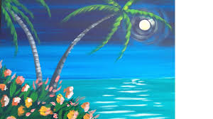 relaxing painting videos easy meditation tropical seascape acrylic painting lesson youtube