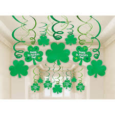 s day decoration amscan lucky green st s day foil swirl