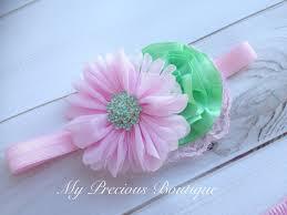 mint green headband light pink and mint headband or clip baby girl headband newborn