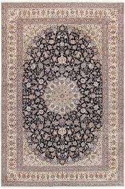 Navy And Beige Area Rugs Pasargad Nain Hand Knotted Silk And Wool Navy Beige Area Rug