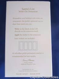2009 hallmark keepsake ornament santa s list write on