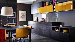 cuisine moderne jaune design interieur inspiration cuisine idea bois foncé dosseret gris
