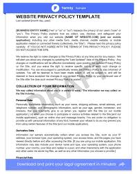 privacy policy privacy policy templates exles website mobile fb app