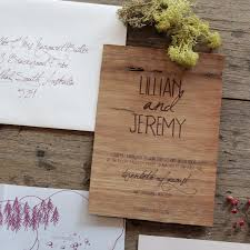 handwritten wedding invitations earthy wood and floral wedding invitation from akimbo