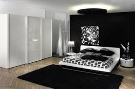 black and white bedroom interior design in minimalist black modern