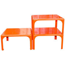 Orange Side Table Set Of Three Stackable Demetrio 45 Side Tables By Vico Magistretti