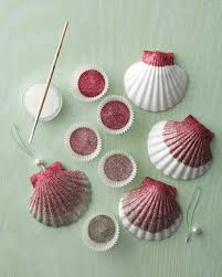ombre glittered seashell ornaments sea shells seashells and shells