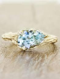 Aquamarine Wedding Rings by Luu Tree Bark Band Pear Shaped Aquamarine Ring Ken U0026 Dana Design