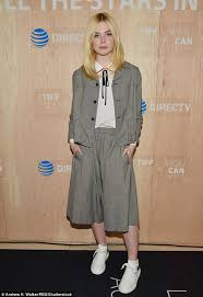 elle fanning dons comfy baggy t shirt and pants in ny daily mail