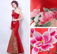 one shoulder peacock floral red chinese wedding mermaid dress