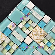 sky blue stone tiles kitchen backsplash oceran blue glass tile