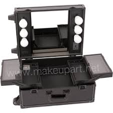 rolling makeup case with lighted mirror studio makeup case with lights mirror black