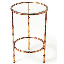vintage gold side table faux bamboo two tier round side table antique gold scenario home