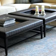 furniture gray leather ottoman coffee table big round tufted
