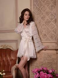 bridal nightwear honeymoon silk bridal robe with lace sleeves f6 nightdress