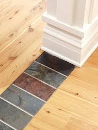 Hardwood Floor Tile Use A Row Of Natural Tiles To Create A Unique Transition Between