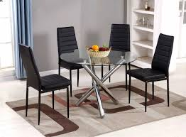 selina chrome round glass dining table set furniturebox