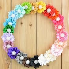 flowers for headbands 30pcs 3 7cm satin fabric sun flower for headbands hair hair