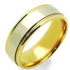 mens two tone wedding bands accent 14k two tone gold 7mm two layered wedding band for
